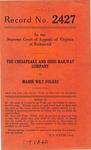 The Chesapeake and Ohio Railway Company v. Mamie Wily Folkes