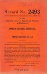 Annie M. Dearing, Executrix, etc. v. Frank Walter, et al.