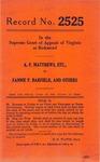 A. F. Matthews, etc. v. Fannie P. Barfield, et al.