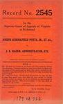 Joseph Schoolfield Potts, Jr., et al. v. J. K. Rader, Administrator, etc.