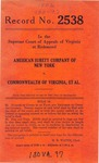 American Surety Company of New York v. Commonwealth of Virginia, et al.