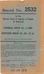 Universal Credit Company v. Botetourt Motor Company, Inc., Et Al.