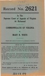 Commonwealth of Virginia v. Mary R. White