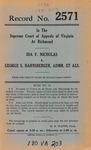 Ida F. Nicholas v. George S. Harnsberger, Administrator, et al.
