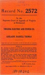 Virginia Electric and Power Company v. Adelaide Harrell Thomas