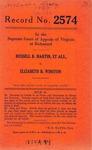 Russell B. Martin, et al., Partners, Trading as Martin Brothers v. Elizabeth B. Winston