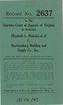Elizabeth L. Nicholas, et al., v. Harrisonburg Building and Supply Company, Inc.