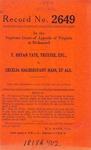 T. Bryan Tate, Trustee, etc. v. Cecelia Halberstadt Hain, et al.
