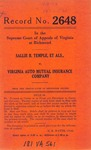 Sallie B. Temple, et al., v. Virginia Auto Mutual Insurance Company