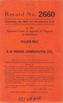 Walker Neal v. B.M. Spencer, Administrator, etc.