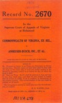 Commonwealth of Virginia, Ex Rel., v. Anhueser-Busch , Inc., et al.