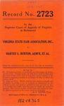 Virginia State Fair Association, Inc. v. Harvey L. Burton, Administrator, etc.
