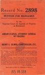 Abram P. Staples, Attorney General of Virginia v. Henry G. Gilmer, Comptroller of Virginia, and W. Tayloe Murphy, Treasurer of Virginia