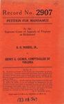R. O. Norris, Jr. v. Henry G. Gilmer, Comptroller of Virginia