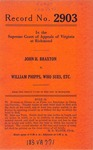 John H. Braxton v. William Phipps, Who Sues, etc.