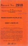 Mildred Elizabeth Walton, et al. v. Robert D. Melton, etc.