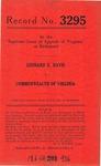 Leonard E. Davis v. Commonwealth of Virginia