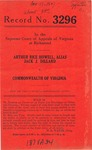 Arthur Rice Howell, Alias Jack J. Dillard v. Commonwealth of Virginia s