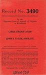 Carrie Strader Taylor v. Edwin D. Taylor, Administrator, etc.