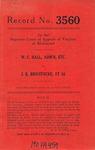 W. C. Hall, Administrator, etc. v. J. K. Brigstocke, et al.
