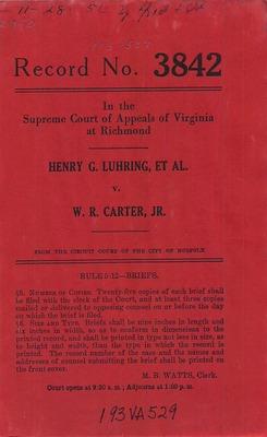 Virginia Supreme Court Records, Volume 193 | 1952