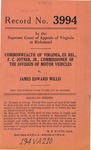 Commonwealth of Virginia, ex rel., C. F. Joyner, Jr., Commissioner of the Division of Motor Vehicles v. James Edward Willis