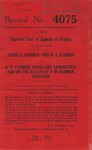 Annie T. Farmer and D. S. Farmer v. A. D. Farmer, Ancillary Administrator of the Estate of P. W. Farmer, deceased