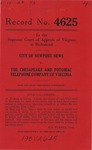 City of Newport News v. The Chesapeake and Potomac Telephone Company of Virginia