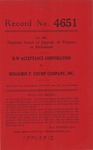 B-W Acceptance Corporation v. Benjamin T. Crump Company, Inc.