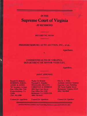 Virginia supreme court records volume 242 virginia for Virginia department of motor vehicle
